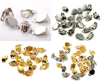 100pcs Silver & Gold Flat Pad Clip On Earring Finding Jewelry Making DIY