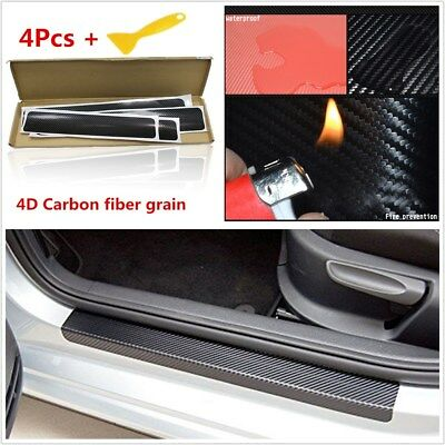 4x Black 4D Car Door Sill Scuff Welcome Pedal Protect Carbon Fiber Grain Sticker