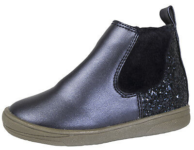 Girls Metallic Chelsea Ankle Boots Glitter Faux Fur Gusset Party Winter Shoes