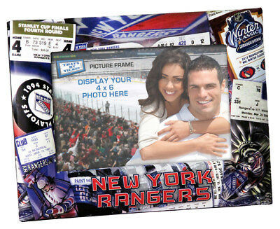 New York Rangers Vintage Style Black Wood Edge 4x6 inch Picture Frame