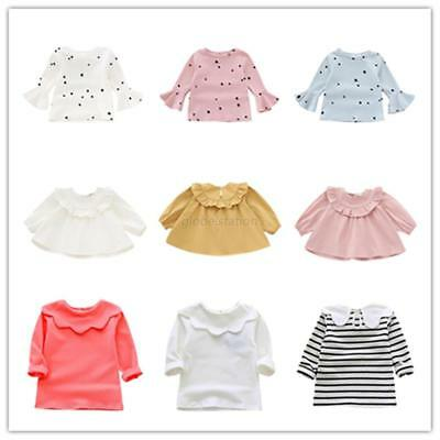 Baby Girl Long Sleeve Cotton Blouse Tops Infant Cute Polka Dot  Shirt Tops UK