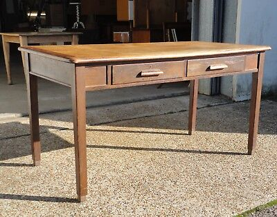 Lovely Antique Vintage Abbess Oak Teachers School Desk Dining Table With Drawers