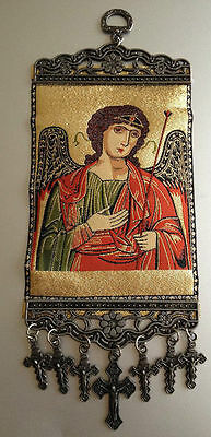 Saint Michael the Archangel Icon Woven Tapestry Wall Hanging With Crosses