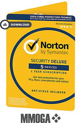 Norton Security 2018 - 5 Geräte 1 Jahr - PC/MAC/Android Internet Security - EU