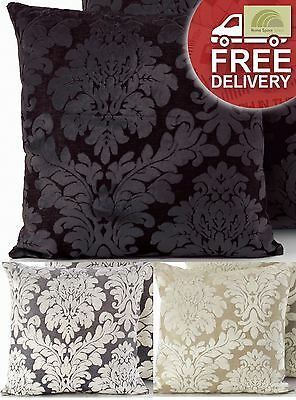 Damask Faux Velvet Cushion Cover Scatter Square Bed Sofa Silver Cream Black New