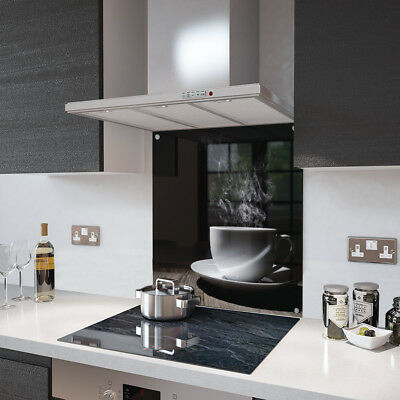 White Coffee Cup Glass Splashback Fixing Holes - 90cm Wide x 75cm High