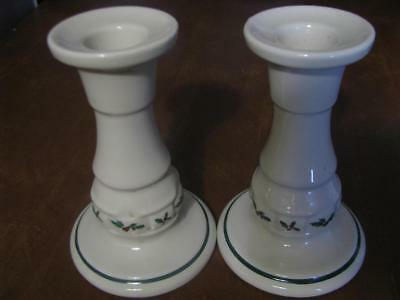 """Pair (2) Longaberger Traditional Holly Pottery 5"""" Candlesticks/Candle Holder"""