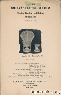 ca.1915 Mallinson's Rattan Furniture From China Catalogue
