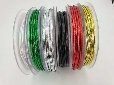 Lurex Cord 2mm Metallic String Silver Gold Green and Red