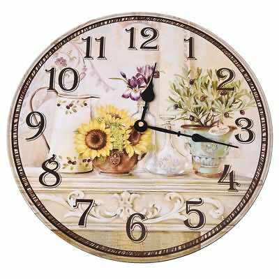 Vintage Antique Style 34cm Wall Clock Home Bedroom Retro Kitchen Quartz A8Y N7X2