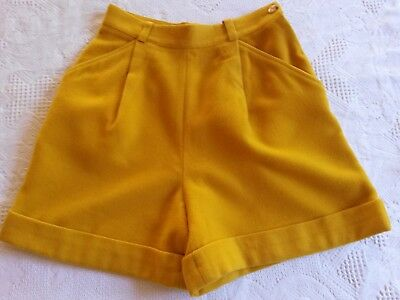 SHORT moutarde en laine Gaston JAUNET T.38 S VINTAGE 80 woman wool shorts size S