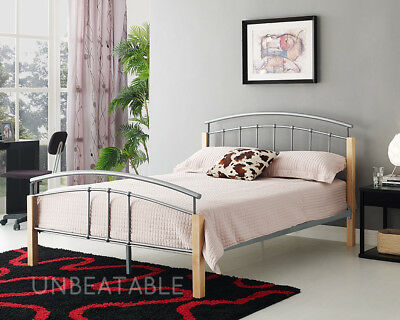Metal Wooden Bed Frame Beech Wooden Legs Silver Double King Size