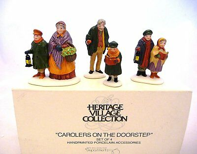"""Department 56 """"Carolers on the Doorstep"""" Set of 4 Retired"""