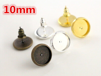 50pcs Stud Earrings   10mm Cabochon Setting   Choice of 3 Plate Finishes