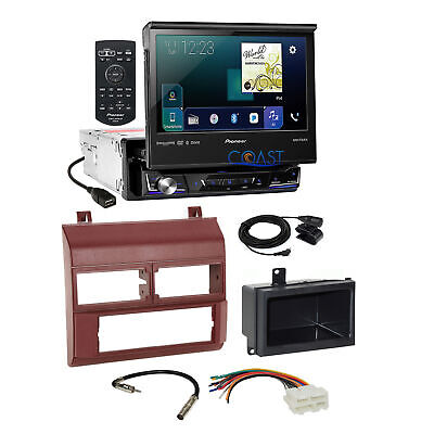 Pioneer Flip Out Touchscreen Radio Burgundy Dash Kit Harness for 88+ Chevy GMC