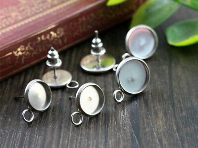 20pcs Stainless Steel Earring Studs | 8mm or 10mm Cabochon Setting