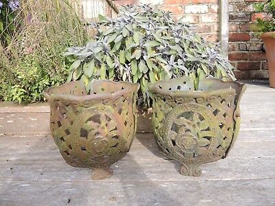 Pair of Unusual Elaborate Weathered Cast Iron Plant Pot Holders   (1004)