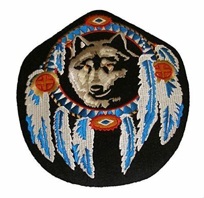 Black Wolf Dream Catcher Feather Native American Large Size Patch Indian Tribal