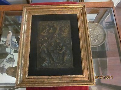 circa late 1700's / early 1800's Bronze Heraldic Plaque in a Gold Frame