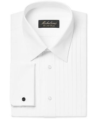 NWT $99 MICHELSONS Men CLASSIC-FIT WHITE FRENCH-CUFF TUXEDO DRESS SHIRT 17 34/35