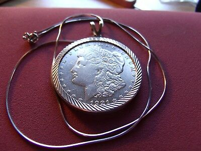 "1921 S Morgan Silver Dollar .925 Pendant on a 20"" 925 Italy Silver Round Chain"