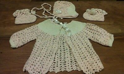 Vintage Handmade Crochet Baby/Doll Sweater Set Pink Early 1970's