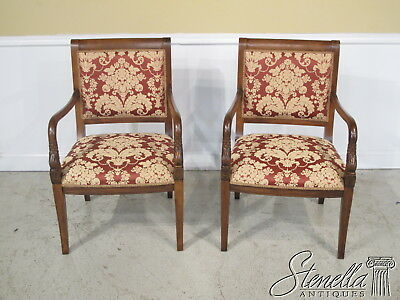 36169: Pair Of Regency Style Carved Open Arm Chairs w Damask Upholstery