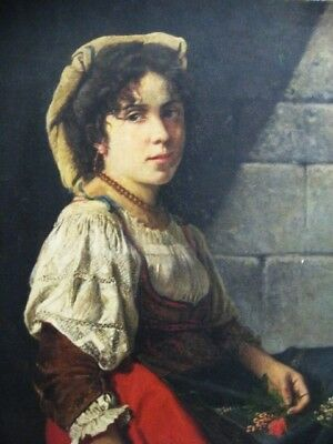 YOUNG ITALIAN GIRL Rare 19th Century Oil Painting European Italy Old Large Good