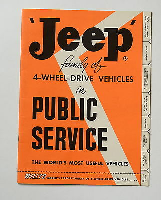 MINT & NOS ~1955  JEEP Brochure ~JEEP FAMILY of 4WD in PUBLIC SERVICE ~VERY RARE