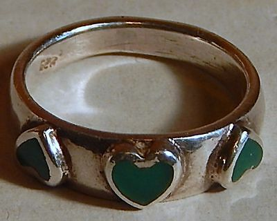Vintage Heart Ring 925 Silver Green Stone Sz 4.5 Valentines