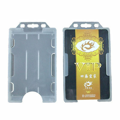 1Pc Double Sided Vertical Plastic ID IC Badge Holder Card Cover Case Pocket Box