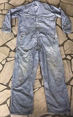Vintage Dickies Men's Herringbone Blue Jean Denim Work Coveralls 46 Medium