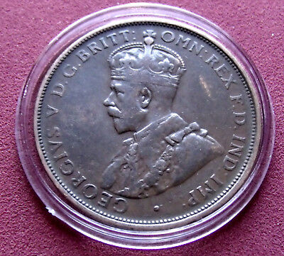 Very Fine 1919 Australia One Penny George V, Holder included solid circulated