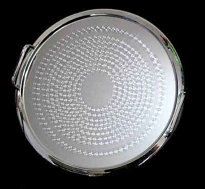 Vintage Ranleigh machine age etched circles round tray with handles 33cm