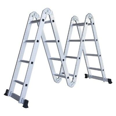 15.5FT Multi Position Aluminum Ladder Folding Step Scaffold Work Extension Stair