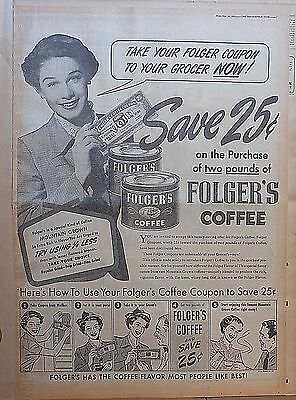 1951 full page newspaper ad for Folger's Coffee - Coffee Coupon, how to use pix