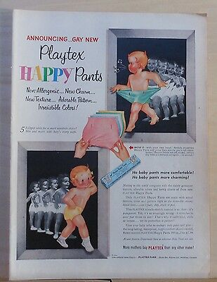 1953 magazine ad for Playtex Happy Pants for babies - Lollypop colors, charming
