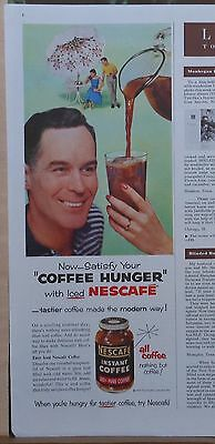 1955 magazine ad for Nescafe - Satisfy Coffee Hunger with Iced Nescafe, tastier