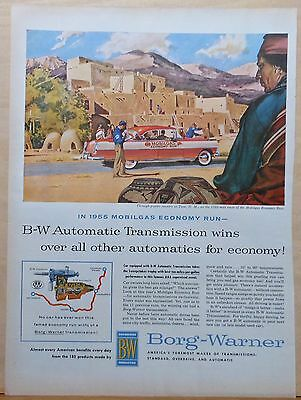 1955 magazine ad for Borg-Warner - Mobilgas Economy Run car at Taos NM pueblo