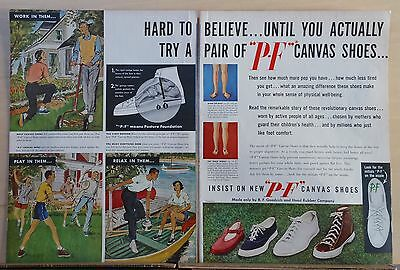 1949 two page magazine ad for PF canvas shoes - colorful, summer scenes, shoes