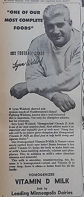 1946 newspaper ad for Minneapolis Dairies Milk - Lynn Waldorf coach Northwestern