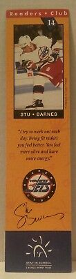 WINNIPEG JETS 93-94 Readers Club BOOKMARK Hockey BOOKS Education NHL Stu Barnes