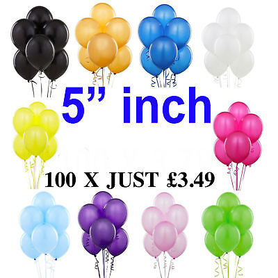 "Quality Standard 5"" inch Small Round Latex Balloons Choose 9 Colour baloons"