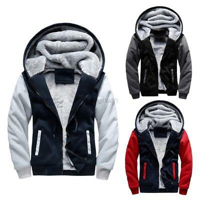 AU Men's Hoodie Jacket Winter Warm Thick Fleece Lined Zip Up Coat Parka Outwear