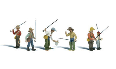 NEW Woodland N Scale Fly Fisherman Train Figures A2215