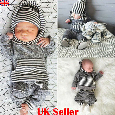 UK Newborn Baby Boys Hooded Tops+Long Pants Leggings Outfit Toddler Clothes Sets