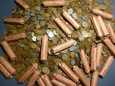 Unsearched Rolls of Wheat Pennies From Estate Sale Lot with Steel 1909-1958