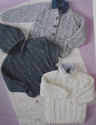 Knitting Pattern Aran Cable Knit Baby Childrens Jumpers 3 Styles
