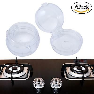 6 Pack Clear Kitchen Gas Electric Stove Knob Covers for Baby Kids Children Locks