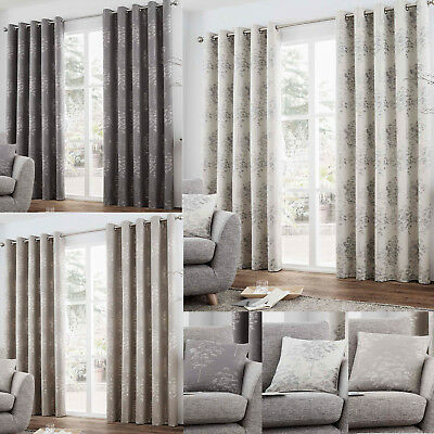 Luxury Eyelet Fully Lined Ring Top Curtains. Elmwood Choice of Sizes & colours